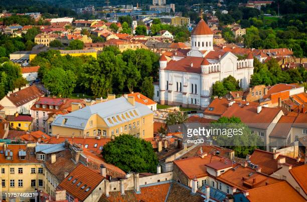 aerial view of the old town in vilnius with cathedral of the theotokos, lithuania - lithuania stock pictures, royalty-free photos & images