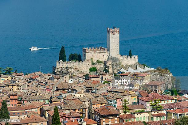 Aerial view of the old town located at the shore of Lake Garda