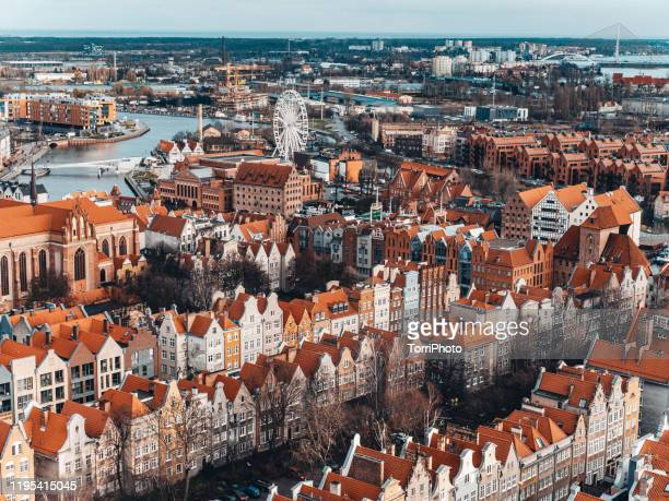 aerial view of the old town of gdansk, poland - gdansk stock pictures, royalty-free photos & images