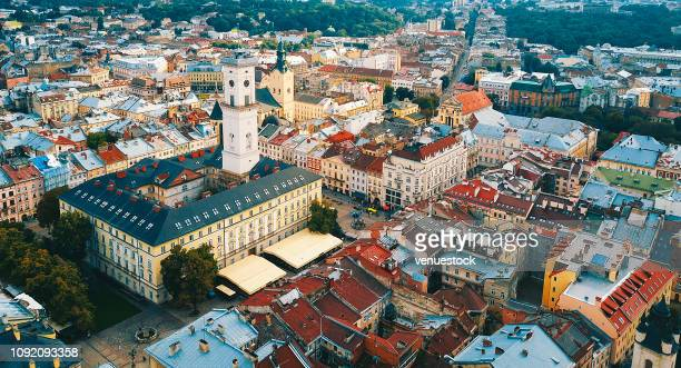 aerial view of the old town of lviv, ukraine - ukraine landscape stock pictures, royalty-free photos & images