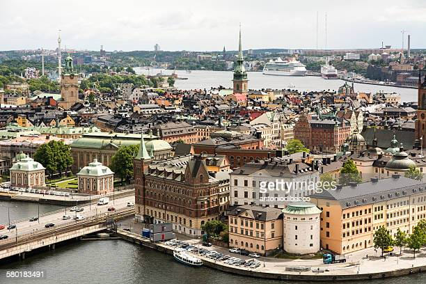 Aerial view of the Old Town of Stockholm