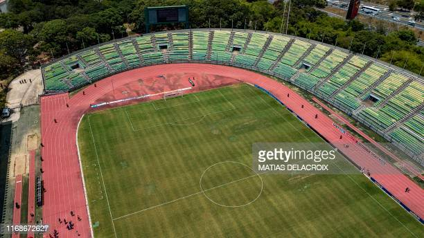 Aerial view of the Olimpico stadium, in Caracas, on September 15 before a 2019 Clausura Tournament football match between caracas FC and Monagas. -...