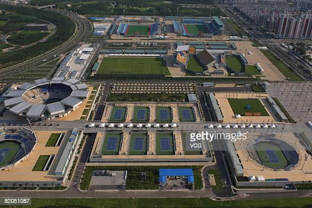 Aerial view of the Olympic Green Tennis Centre at the Olympic Green on July 22 2008 in Beijing China