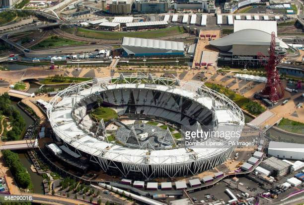 Aerial view of the Olympic Park in Stratford east London showing the Olympic Stadium and the ArcelorMittal Orbit PRESS ASSOCIATION Photo Picture date...