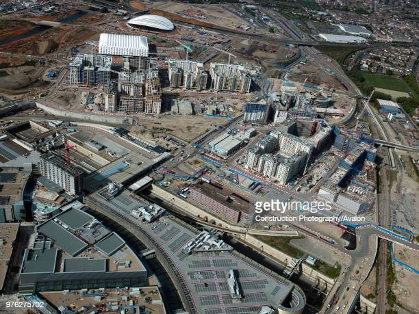 Aerial view of the Olympic site, London, UK, UK.