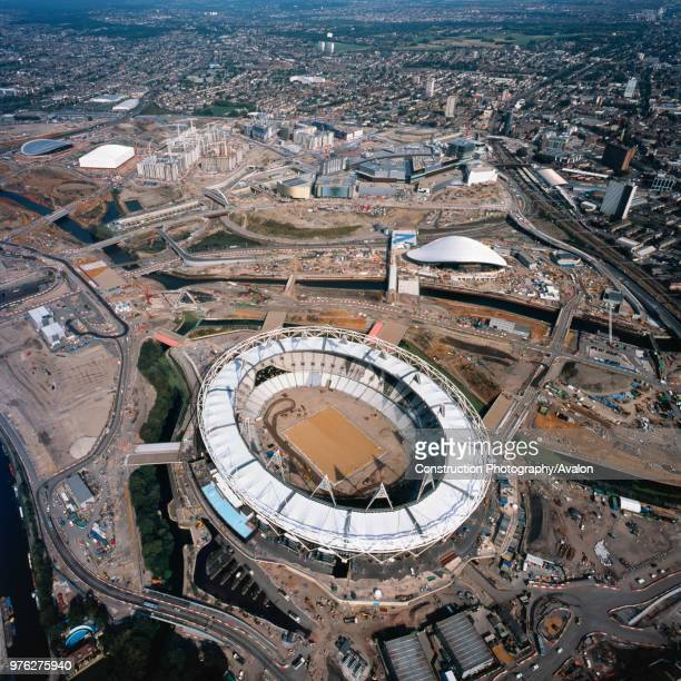 Aerial view of the Olympic Stadium and Aquatics Centre during construction London UK