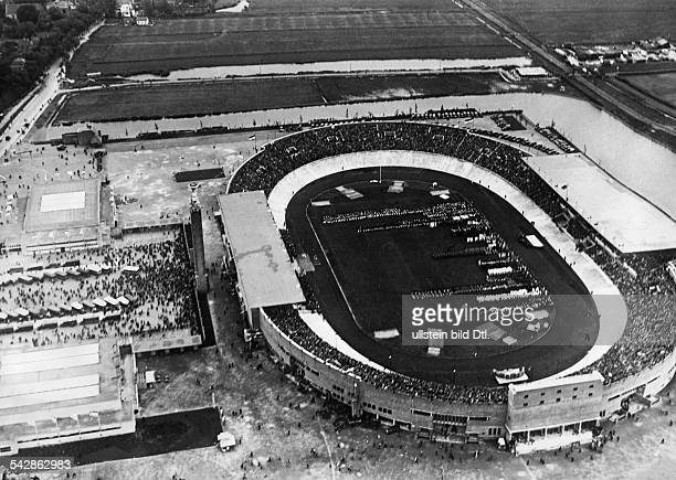 Aerial view of the Olympic Stadium in Amsterdam during the opening ceremony of the Olympic Games 1928