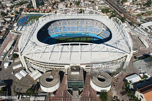 Aerial view of the Olympic Stadium known as Engenhao which will host athletics and football events during the Rio 2016 Olympic Games in Rio de...