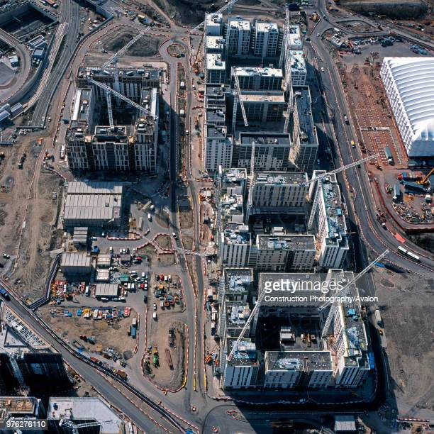 Aerial view of the Olympic Village during construction, London, UK.