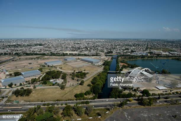 Aerial view of the Olympic Village from the Observation tower of the Villa Sodati City Park on January 31 2018 in Buenos Aires Argentina Buenos Aires...