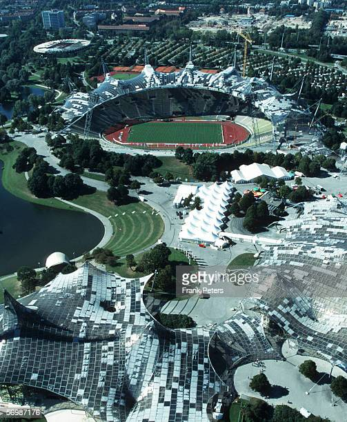 Aerial view of the Olympicstadium on September 1 1997 in Munich Germany