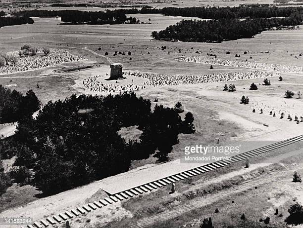 Aerial view of the outside of Treblinka extermination camp Germany 1943