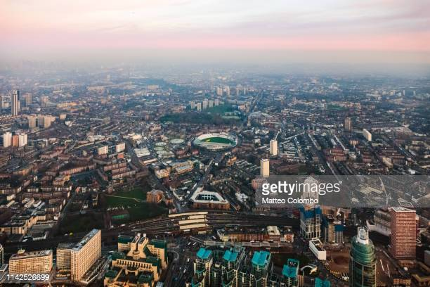 aerial view of the oval ckicket stadium at sunset, london, uk - oval kennington stock pictures, royalty-free photos & images