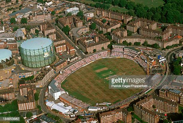 Aerial view of The Oval with the new Bedser stand under construction England v Australia 6th Test The Oval Aug 89