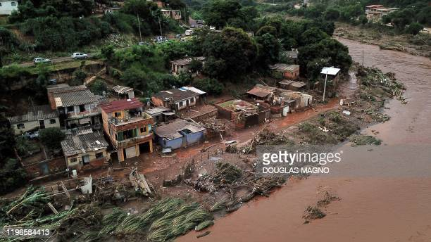 TOPSHOT Aerial view of the overflowing Das Velhas River in Sabara Belo Horizonte Minas Gerais state Brazil on January 26 after heavy rains At least...