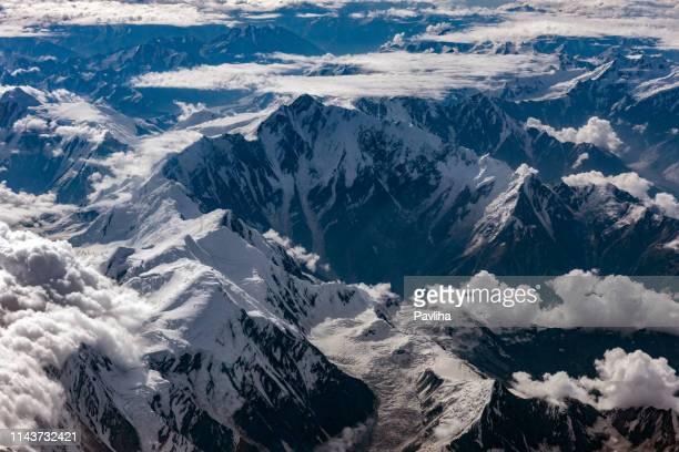 aerial view of the pakistani mountains, nanga parbat, pakistan, himalayas, central asia - k2 mountain stock pictures, royalty-free photos & images