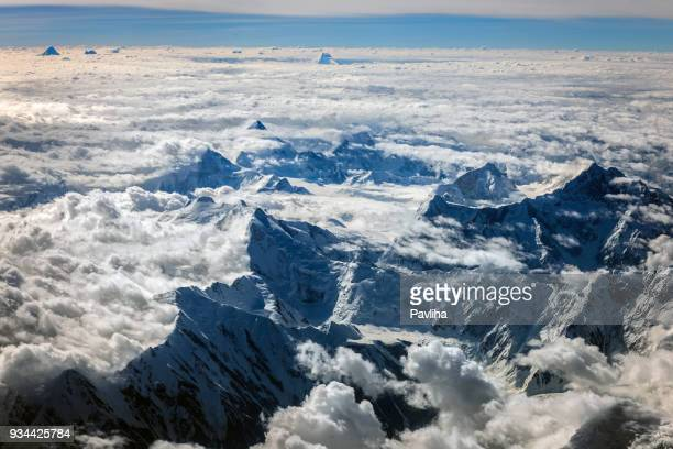 aerial view of the pakistani mountains,central asia - k2 mountain stock pictures, royalty-free photos & images