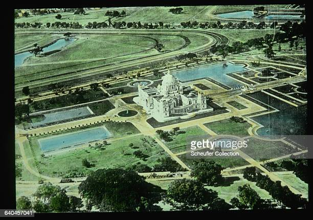 Aerial view of the Palace and of Queen Victoria and surrounding grounds Calcutta India ca 19321937