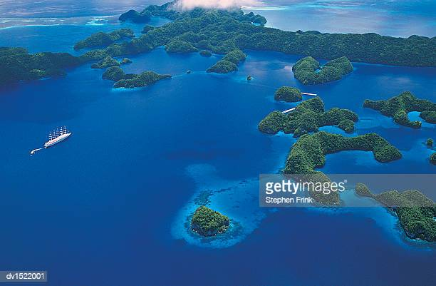 Aerial View of the Palau Islands, Pacific Islands,