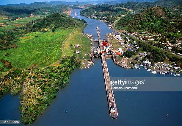 Aerial view of the Panama Canal.