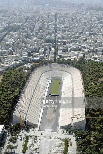 Aerial view of The Panathinaikon Olympic Stadium for archery and marathon finish in Athens Greece one year before the Olympic games are due to start...