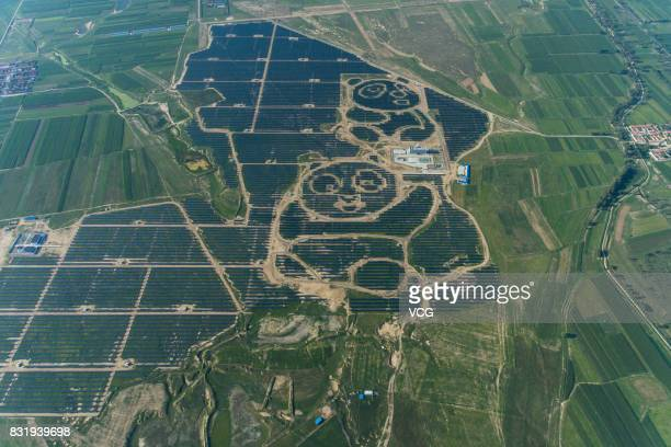 Aerial view of the Panda Solar Station on August 14 2017 in Datong Shanxi Province of China The first Panda Solar Station began operations on August...