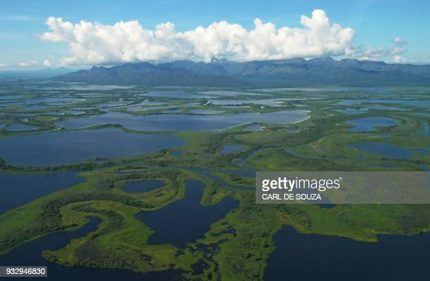 Aerial view of the Pantanal wetlands in Mato Grosso state Brazil on March 8 2018 The Pantanal is the largest wetland on the planet located in Brazil...