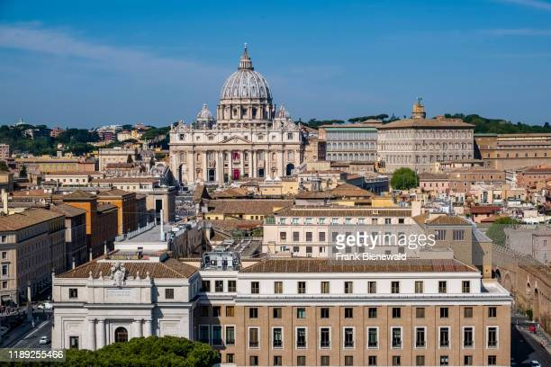 Aerial view of the Papal Basilica of St. Peter, St. Peter's Basilica, seen from the top of the Castle of the Holy Angel, Castel Sant'Angelo.