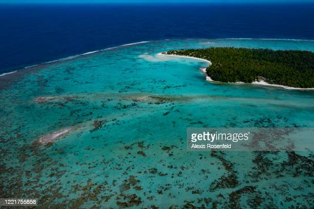 Aerial view of the paradise atoll of Tetiaroa on February 26 Society Islands, French Polynesia, South Pacific. Tetiaroa, best known as Marlon...