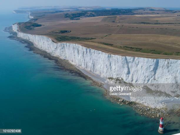 SUSSEX ENGLAND JULY 2018 Aerial view of the parched grasslands of Beachy Head during the UK's prolonged dry spell on July 26th 2018 Photograph by...