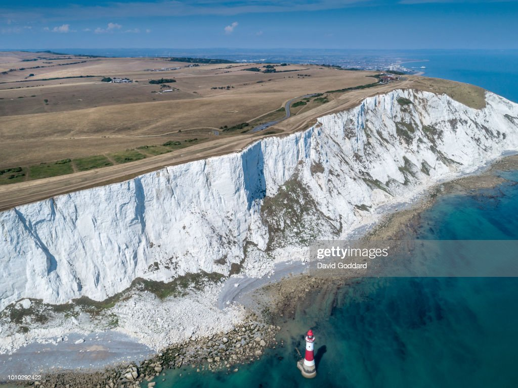 Aerial view of Parched grasslands of Beachy Head : News Photo