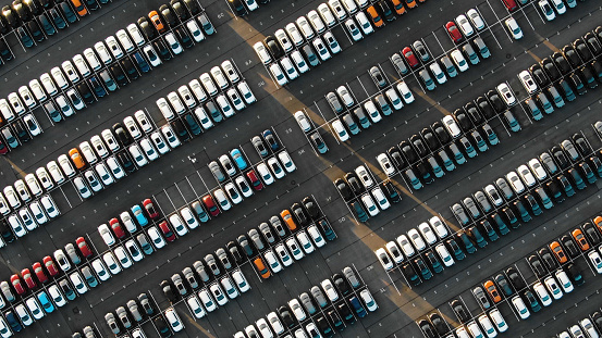 Aerial view of the parked new cars at the automotive plant 1158232690