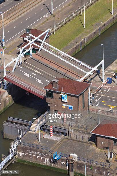 aerial view of the parksluizen at rotterdam - meuse river stock photos and pictures