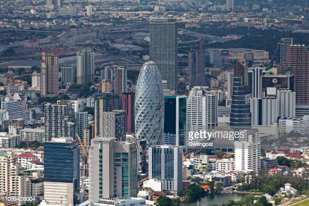 aerial view of the pearl bangkok - gwengoat stock pictures, royalty-free photos & images