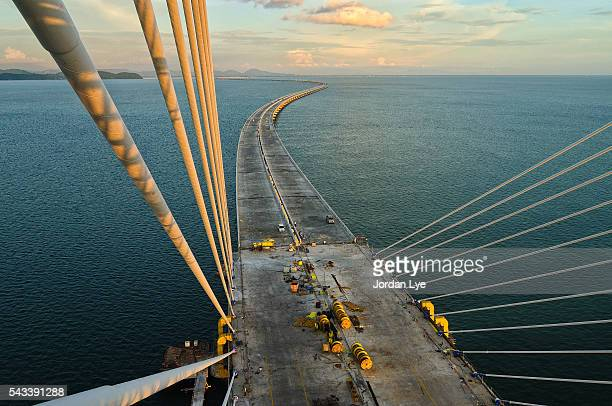 Aerial view of the Penang second bridge under construction