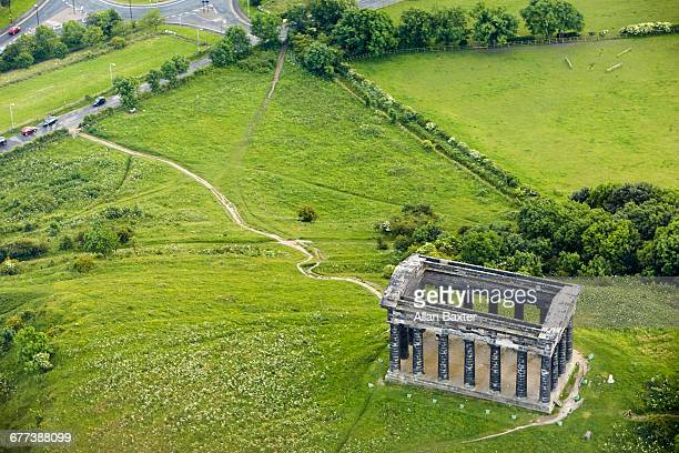 aerial view of the penshaw monument, newcastle - northeastern england stock photos and pictures