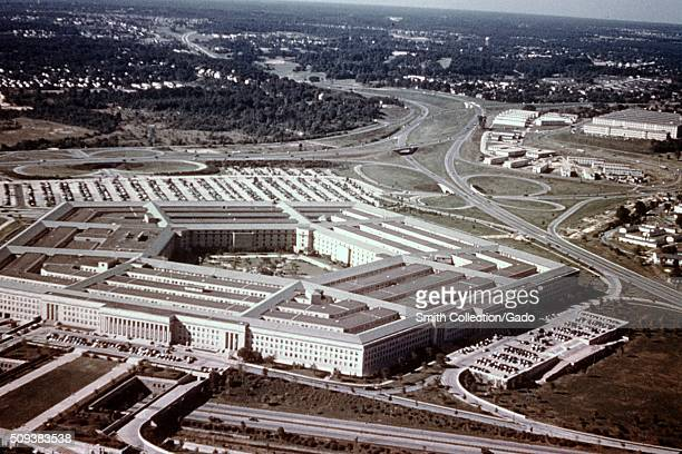 Aerial view of the Pentagon, headquarters of the United States Department of Defense, Arlington, Virginia, 1966. .