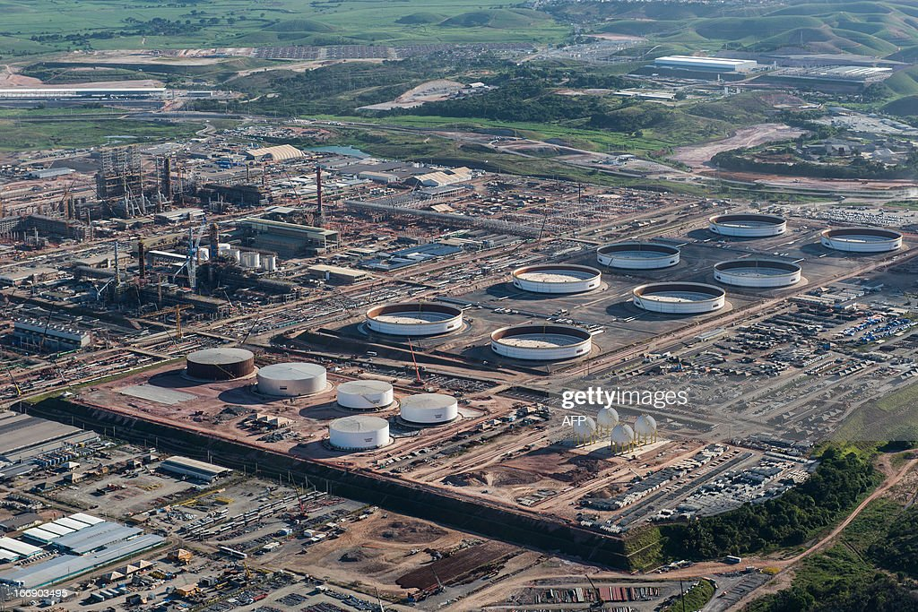 Aerial view of the Petrobras' Abreu e Lima oil refinery -- currently under construction -- in Recife, Pernambuco state, Brazil, on April 15, 2013. AFP PHOTO/Yasuyoshi CHIBA