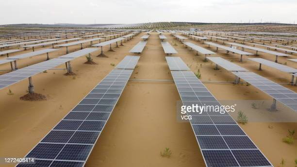 Aerial view of the photovoltaic power station at the Kubuqi Desert on September 12, 2020 in Ordos, Inner Mongolia Autonomous Region of China.