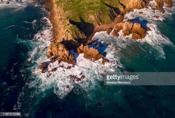 aerial view of the pinnacles, cape woolamai - フィリップ島 ストックフォトと画像