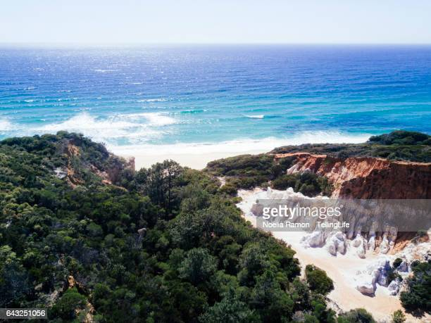 Aerial view of the Pinnacles rock formations and sea, New South Wales, Australia