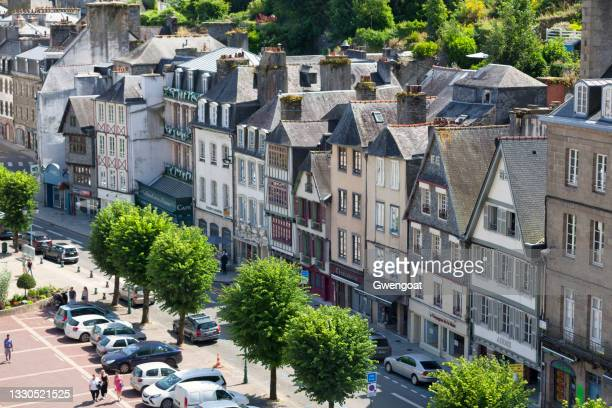 aerial view of the place des otages with its half-timbered houses - gwengoat stock pictures, royalty-free photos & images
