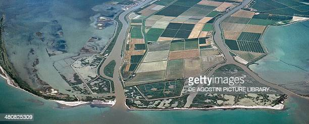 Aerial view of the Po Delta Bocche del Po di Goro e di Gnocca Border between Emilia Romagna and Veneto Region Italy
