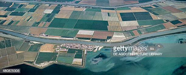 Aerial view of the Po Delta Regional Park in the surroundings of Gorino Ferrarese Province of Ferrara Emilia Romagna Region Italy