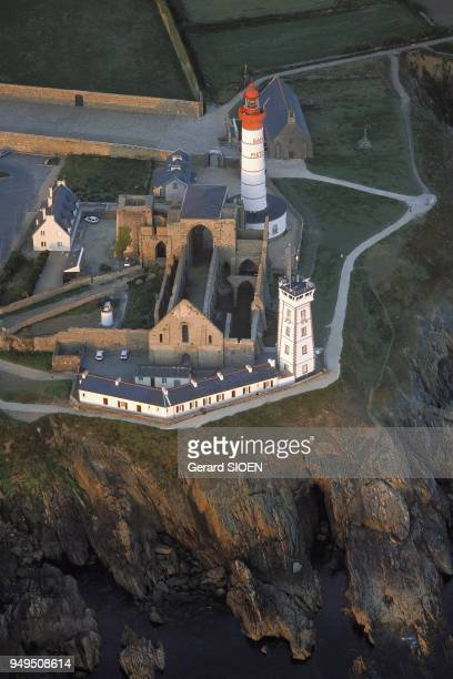 Aerial view of the Pointe Saint Mathieu lighthouse built in 1835 in the ruins of the ancient abbey Brittany France