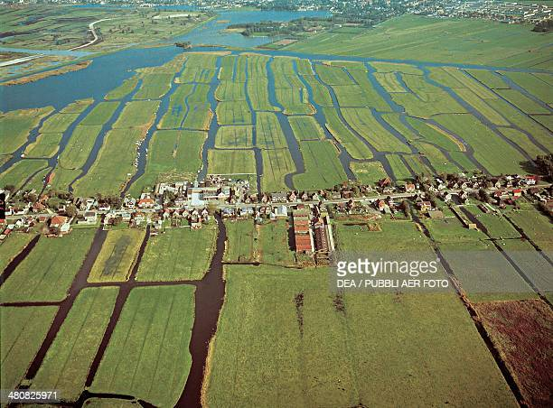 Aerial view of the Polders near Amsterdam - Holland, Netherlands
