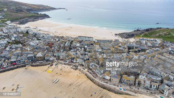 Aerial view of the popular tourist seaside town of St Ives, close to The Carbis Bay Estate hotel and beach, which is set to be the main venue for the...