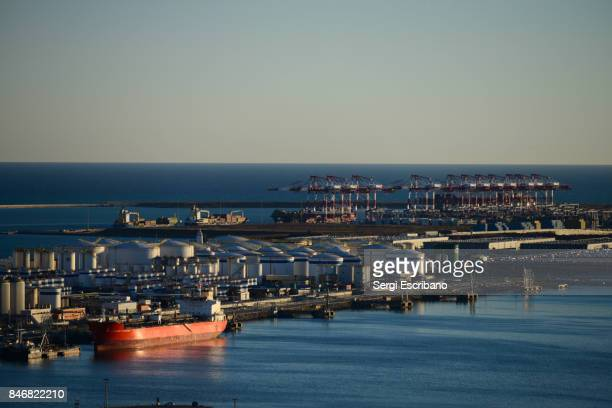 aerial view of the port of barcelona - flammable stock photos and pictures
