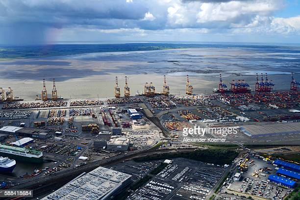 Aerial view of the port of Bremerhaven on August 10 2016 in Bremerhaven Germany The port of Bremerhaven was established in 1847 and became one of the...