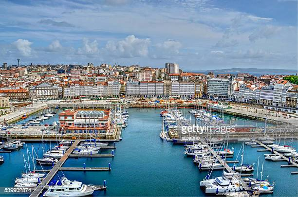 Aerial view of the port of La Coruna and La Marina